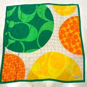 Coach Yellow Green & Orange C Logo Silk Scarf